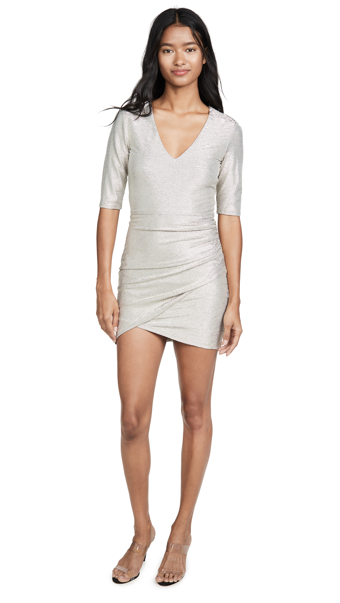 Buy alice + olivia online - photo of alice + olivia Judy Short Sleeve Ruched Dress