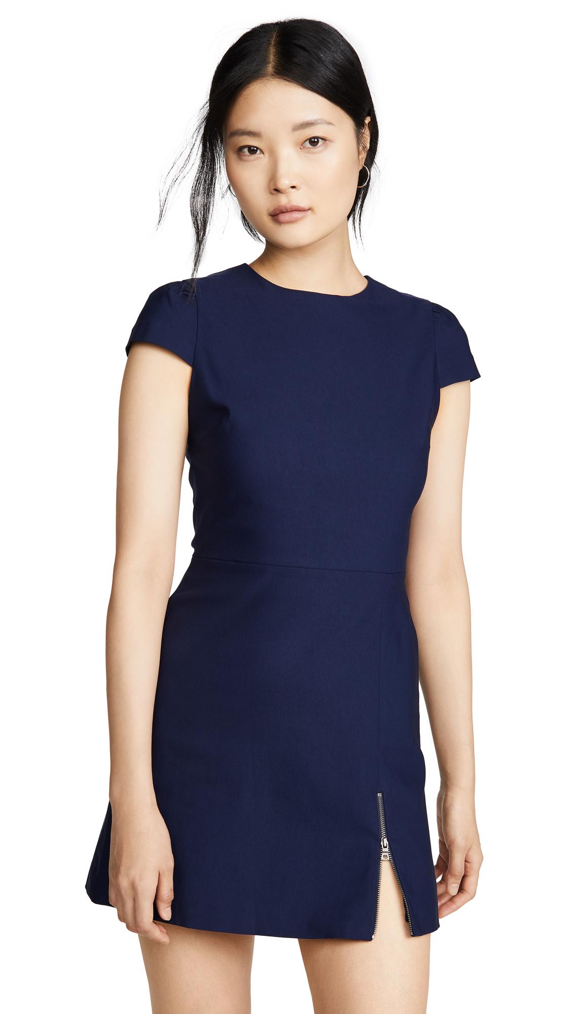 Buy alice + olivia online - photo of alice + olivia Maya Short Sleeve Asymmetrical Zip Mini Dress