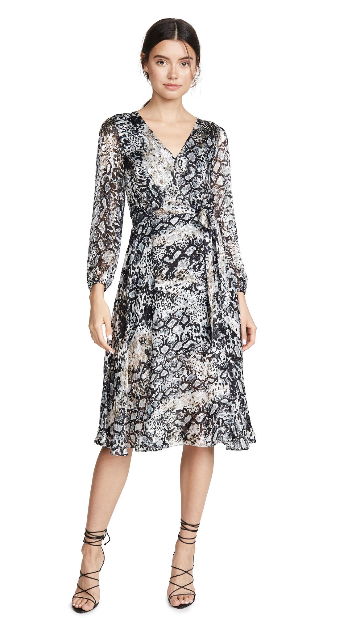 alice + olivia Coco Plunging V Neck Dress - Black Multi