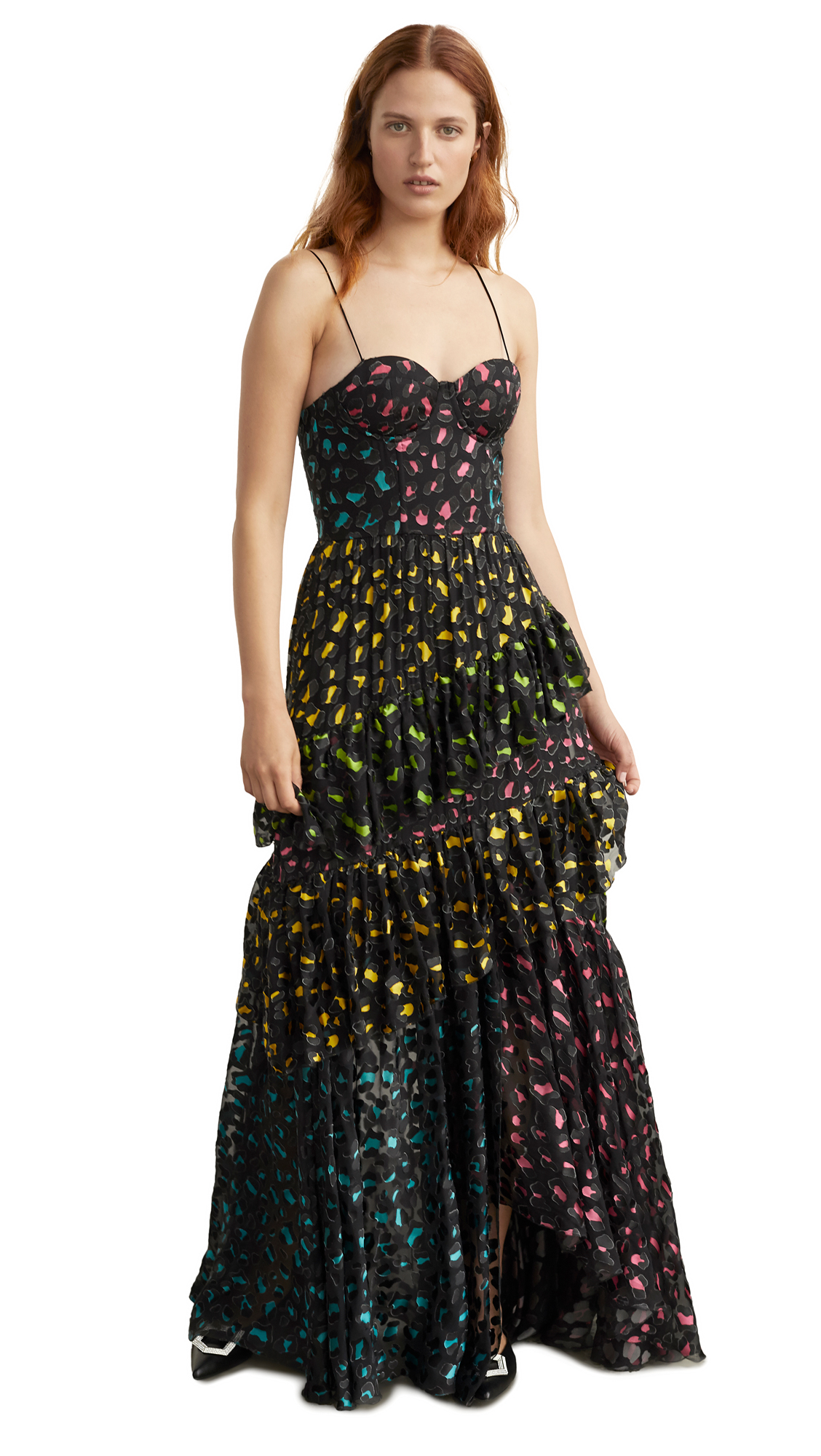 Buy alice + olivia online - photo of alice + olivia Luella Asymmetrical Ruffle Maxi Dress