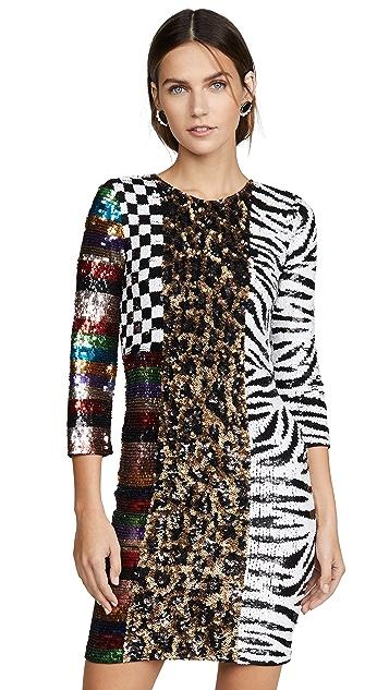 alice + olivia Jae Sequin Keyhold Black Mini Dress