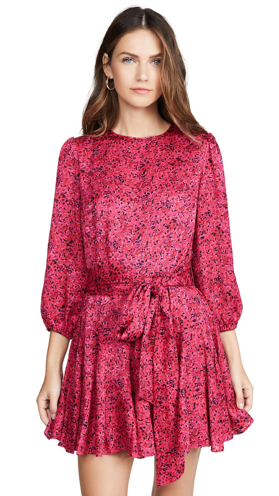 alice + olivia Mina Puff Sleeve Godet Dress with Belt - Bright Pink Multi