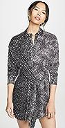 alice + olivia Jodi Collared Shirtdress with Tie