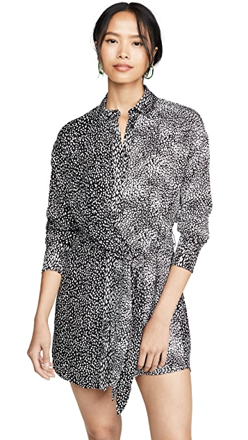 alice + olivia Jodi Collared Shirtdress with Tie