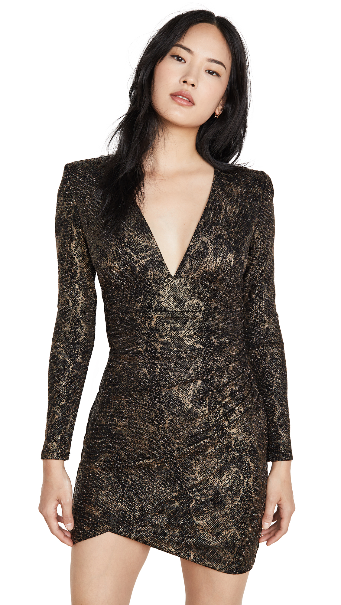 Buy alice + olivia online - photo of alice + olivia Diaz Plunging V Neck Draped Dress