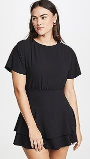alice + olivia Платье Palmira с многоуровневыми оборками и завязками сзади