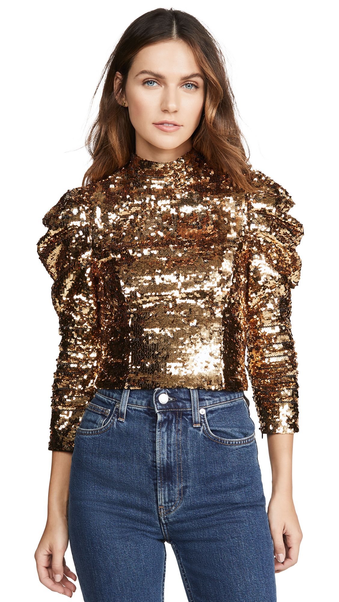 Buy alice + olivia online - photo of alice + olivia Brenna Sequin Fitted Puff Sleeve Top