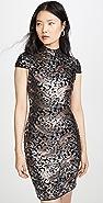 alice + olivia Inka Strong Shoulder Midi Sequin Dress