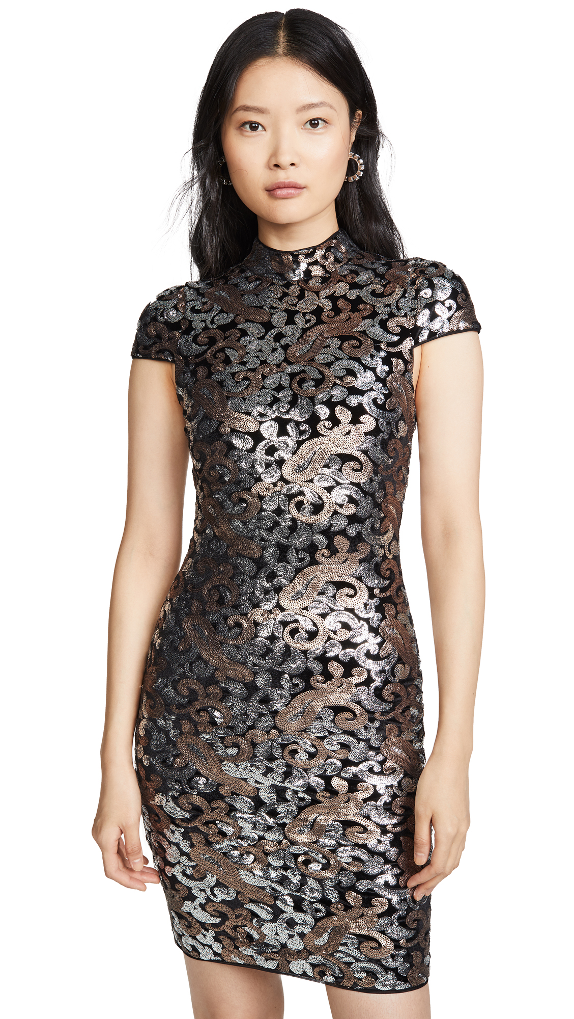 Buy alice + olivia online - photo of alice + olivia Inka Strong Shoulder Midi Sequin Dress