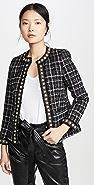 alice + olivia Carmen Embellished Strong Shoulder Fitted Blazer