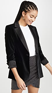 alice + olivia Macey Pleated Sleeve Fitted Blazer