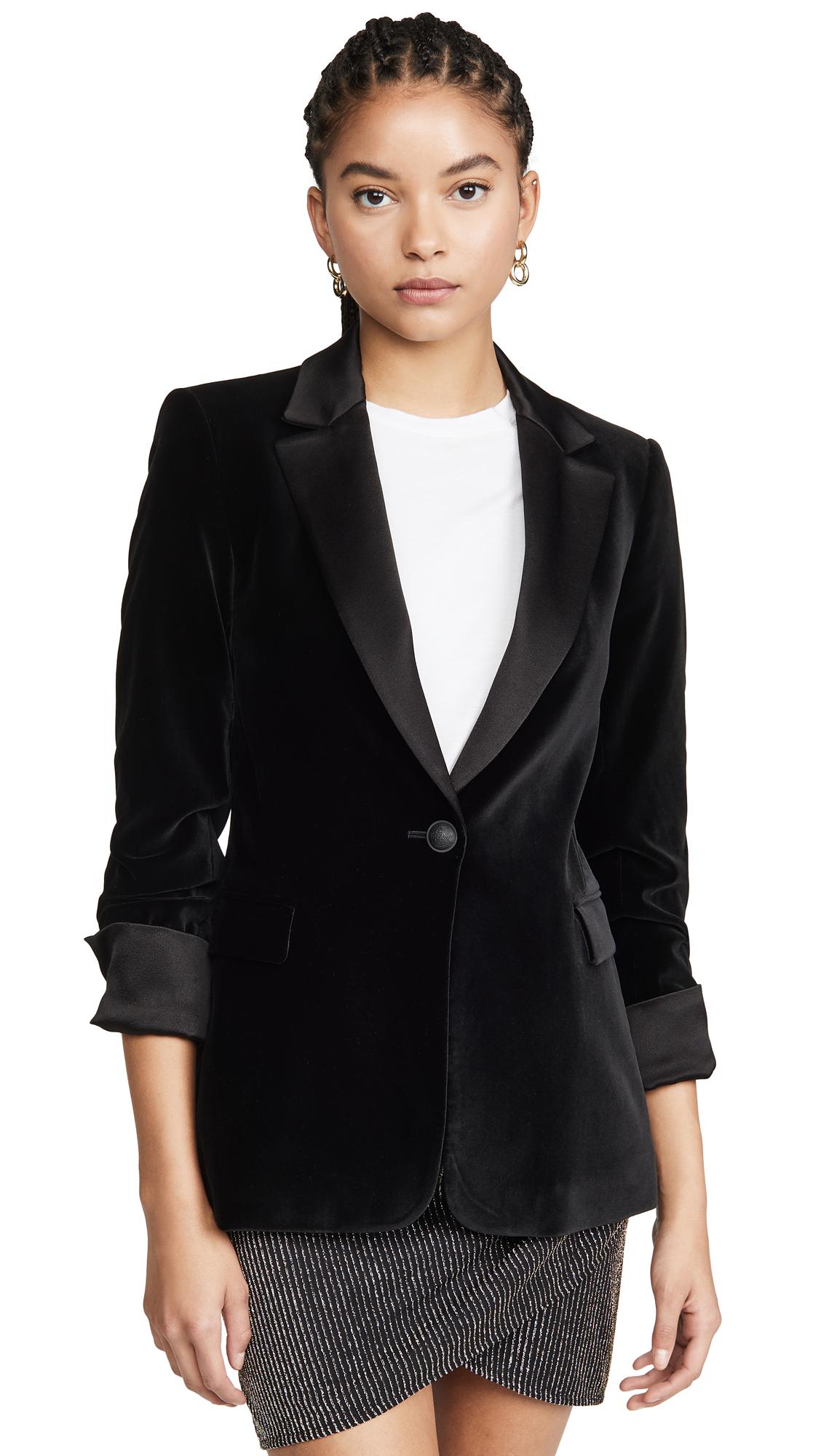Buy alice + olivia online - photo of alice + olivia Macey Pleated Sleeve Fitted Blazer