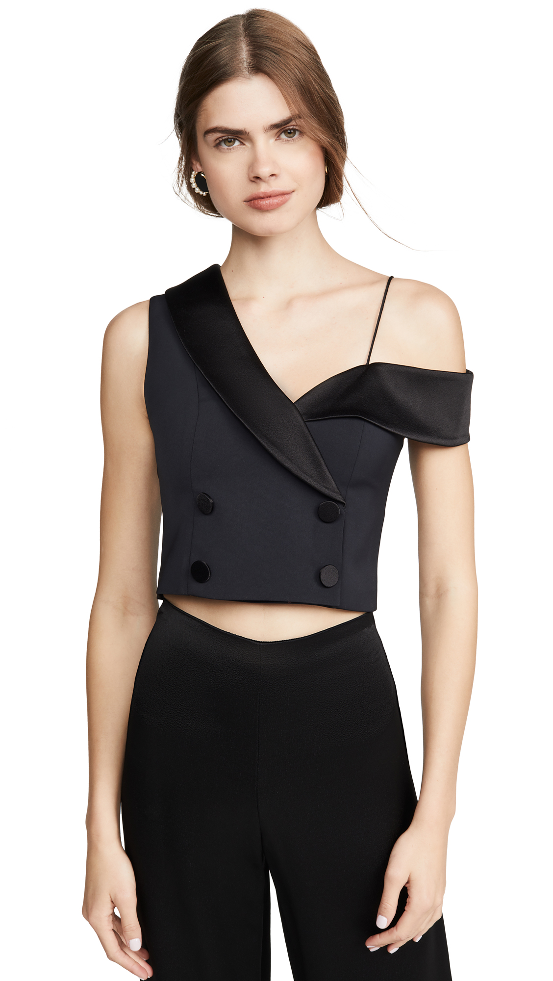 Buy alice + olivia online - photo of alice + olivia Taylor Double Breasted One Shoulder Top