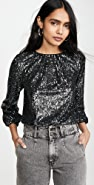 alice + olivia Avila Sequin Crew Neck Crop Top