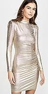 alice + olivia Hilary 抽褶半高领连衣裙