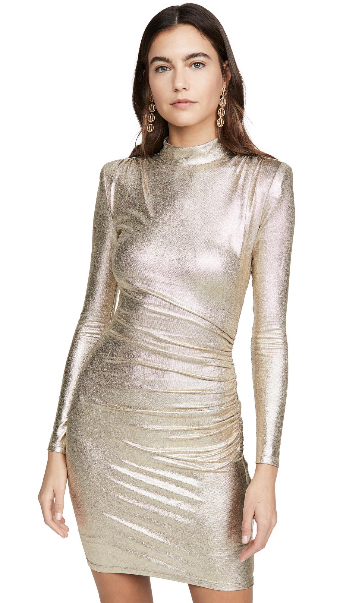 Buy alice + olivia online - photo of alice + olivia Hilary Ruched Mock Neck Dress