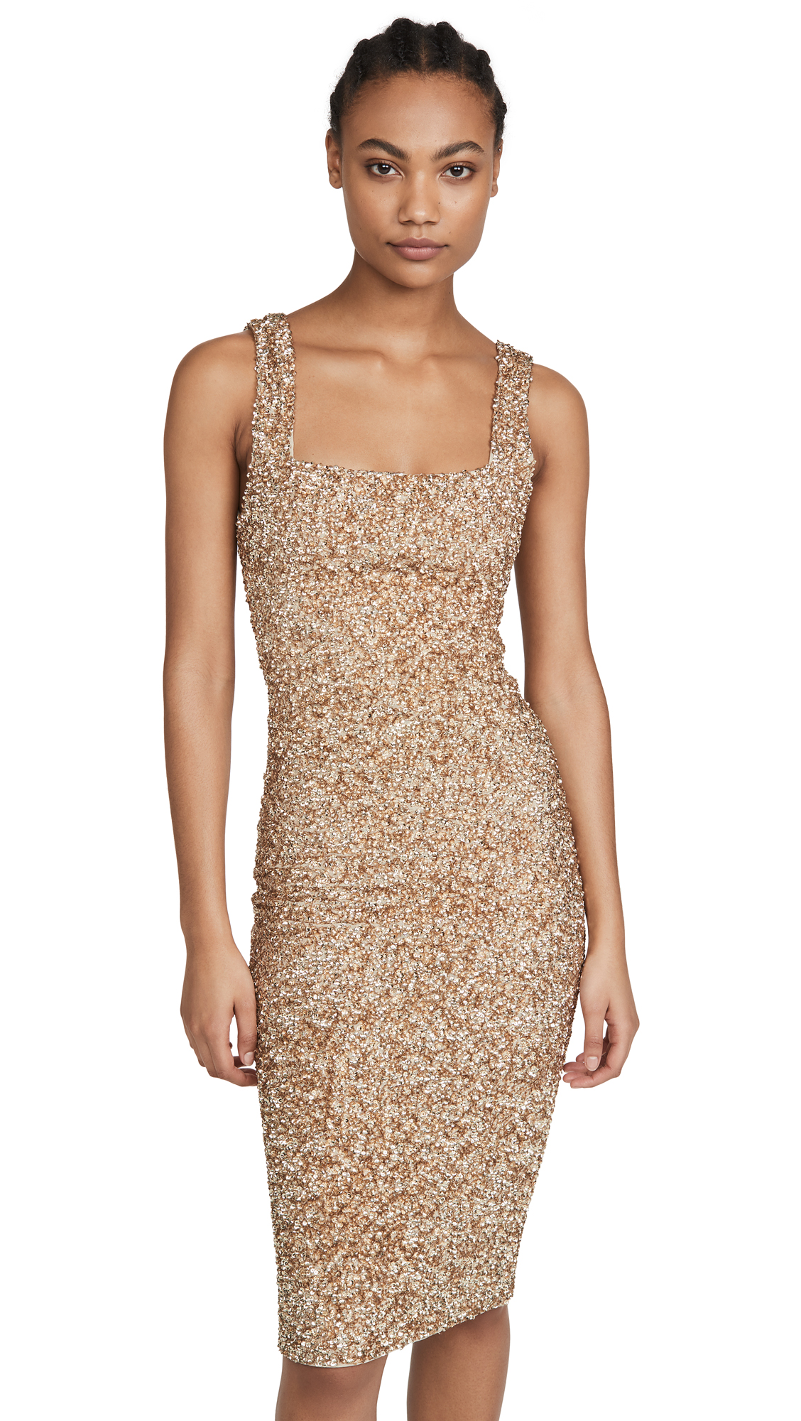 Buy alice + olivia online - photo of alice + olivia Helen Sequin Fitted Square Neck Dress