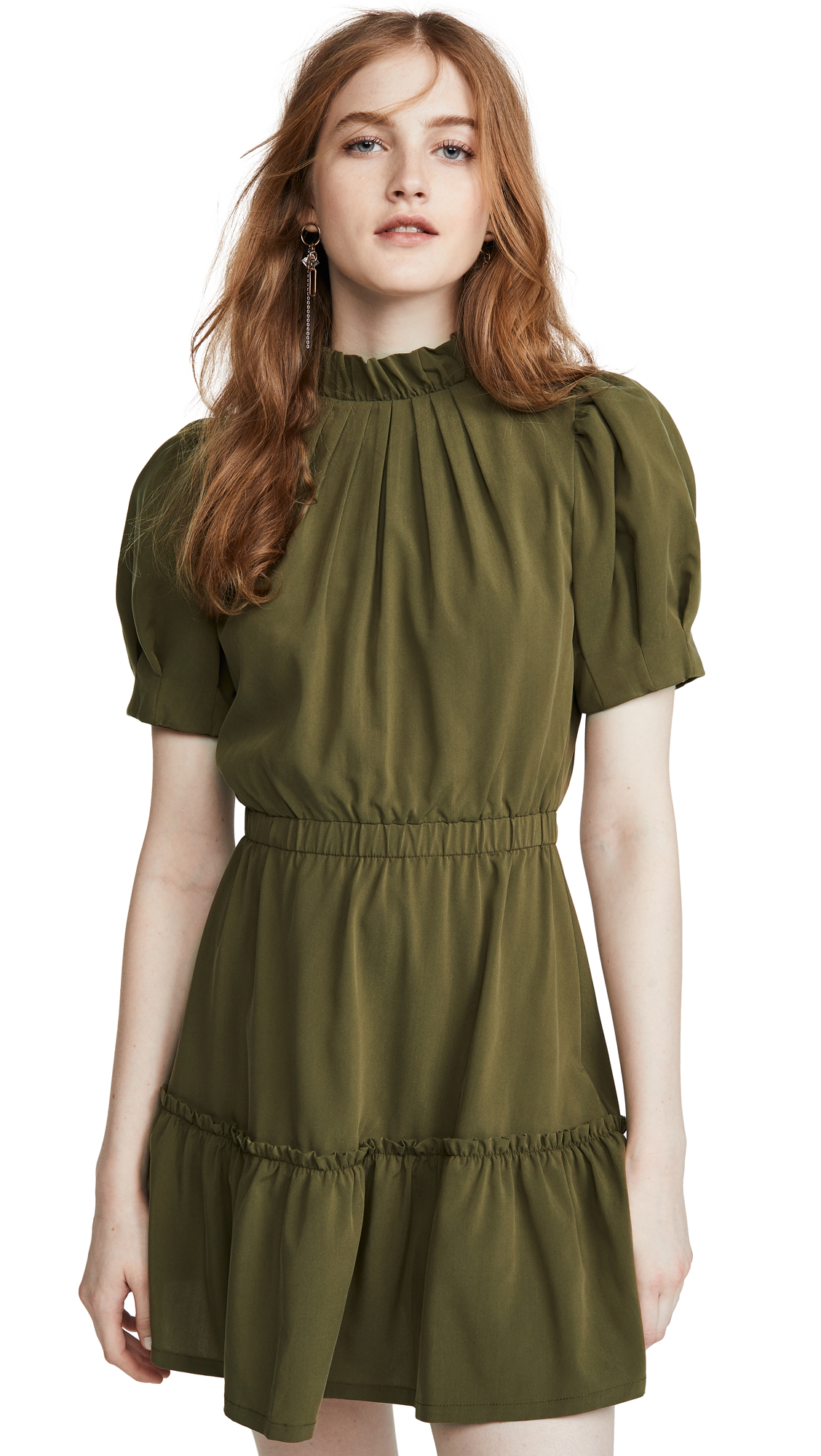 Buy alice + olivia online - photo of alice + olivia Vida Puff Sleeve Ruffle Dress