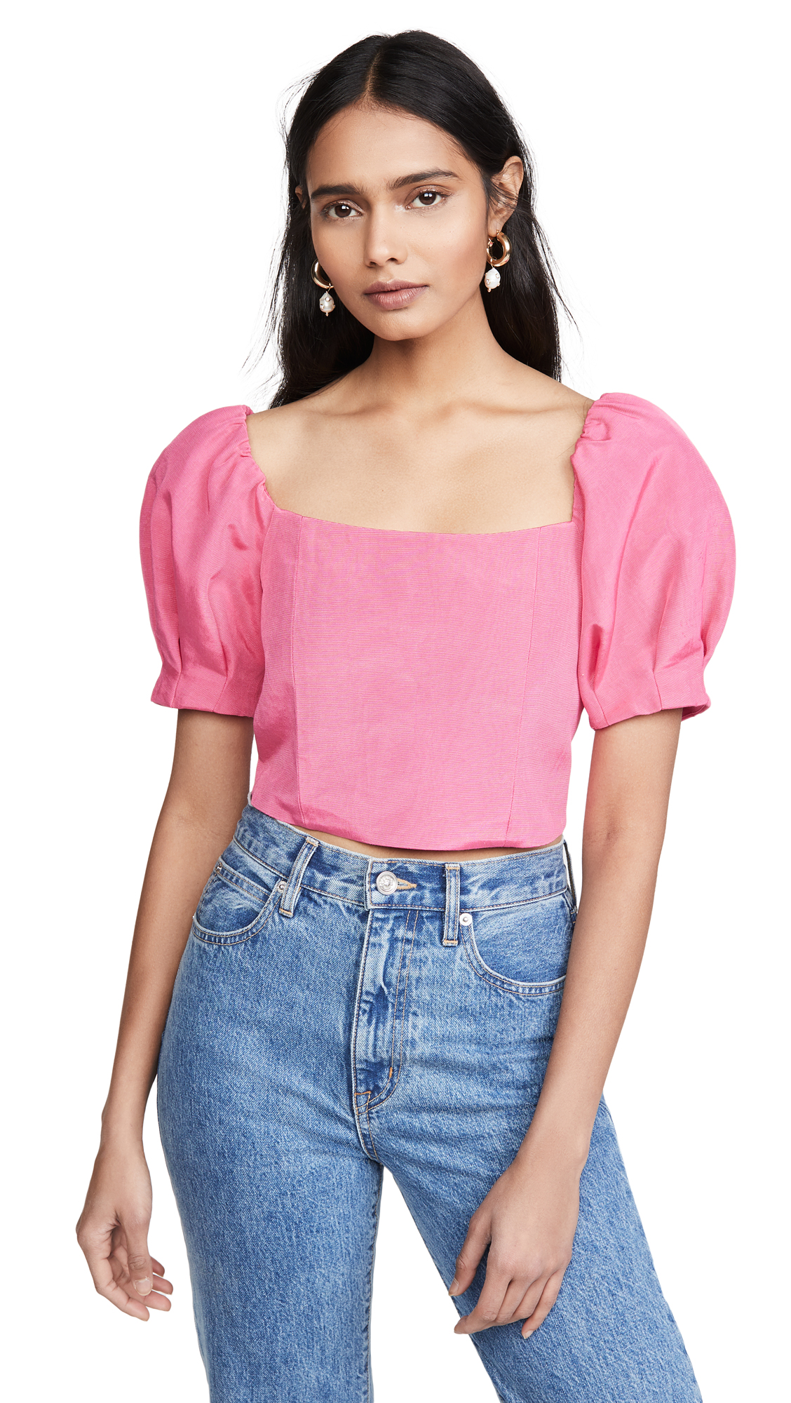 Buy alice + olivia online - photo of alice + olivia Joslyn Puff Sleeve Cropped Top