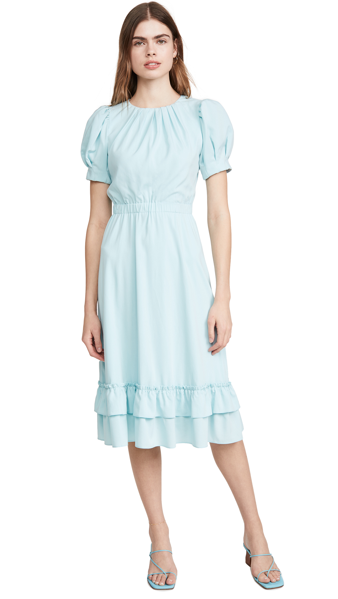 Buy alice + olivia online - photo of alice + olivia Vida Puff Sleeve Ruffle Midi Dress