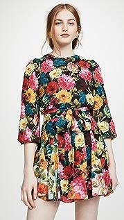 alice + olivia Mina 泡泡袖系腰带拼接连衣裙