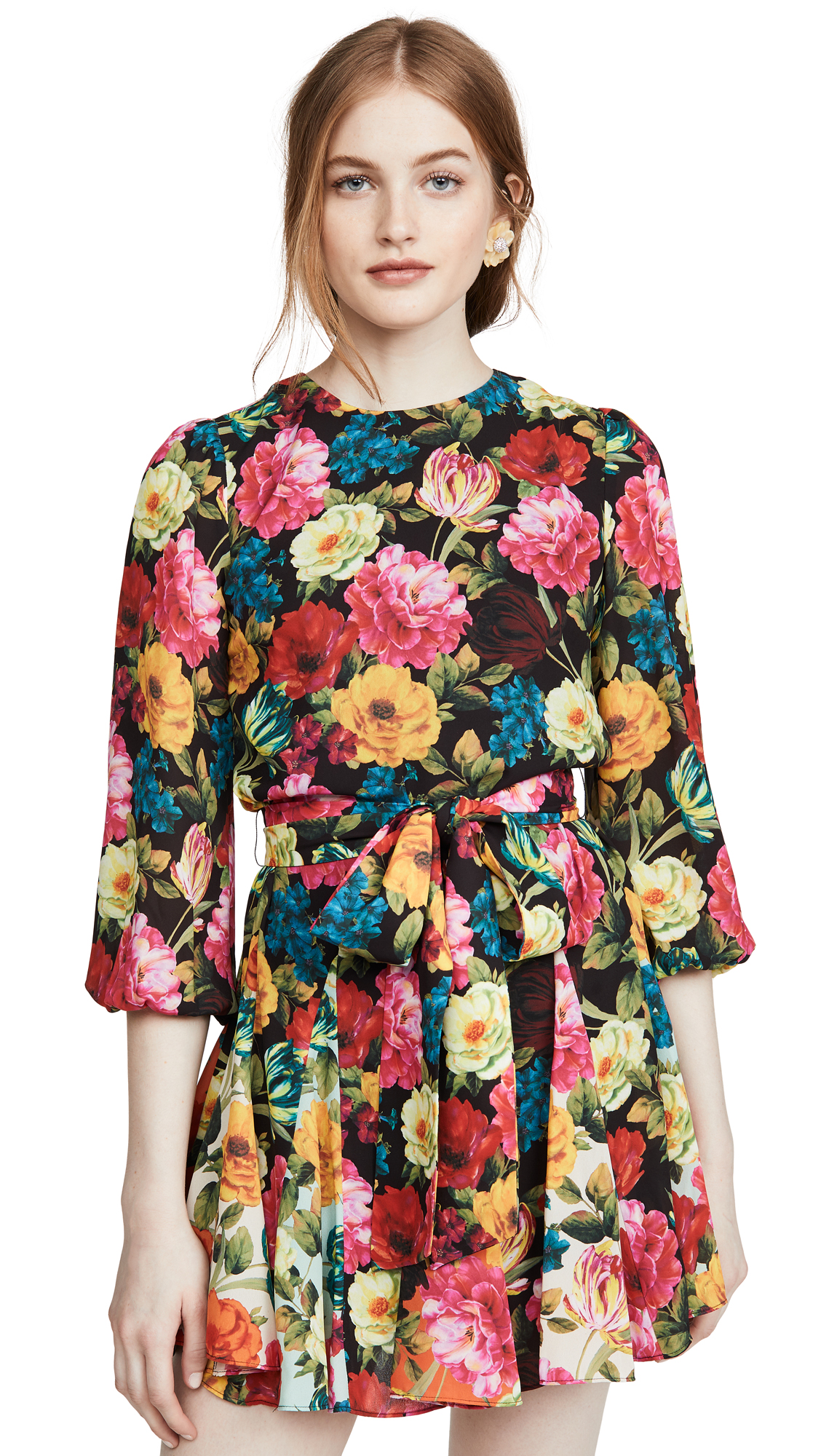 Buy alice + olivia online - photo of alice + olivia Mina Puff Sleeve Godet Dress with Belt