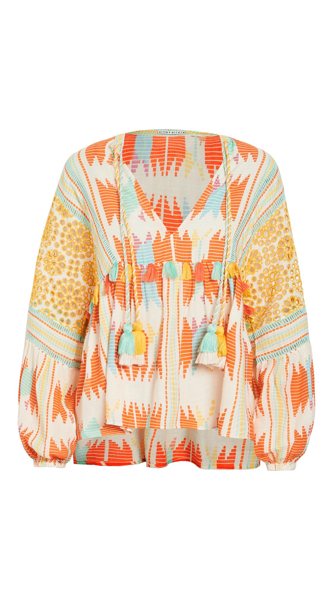 alice + olivia Rosana Embroidered Tunic Top