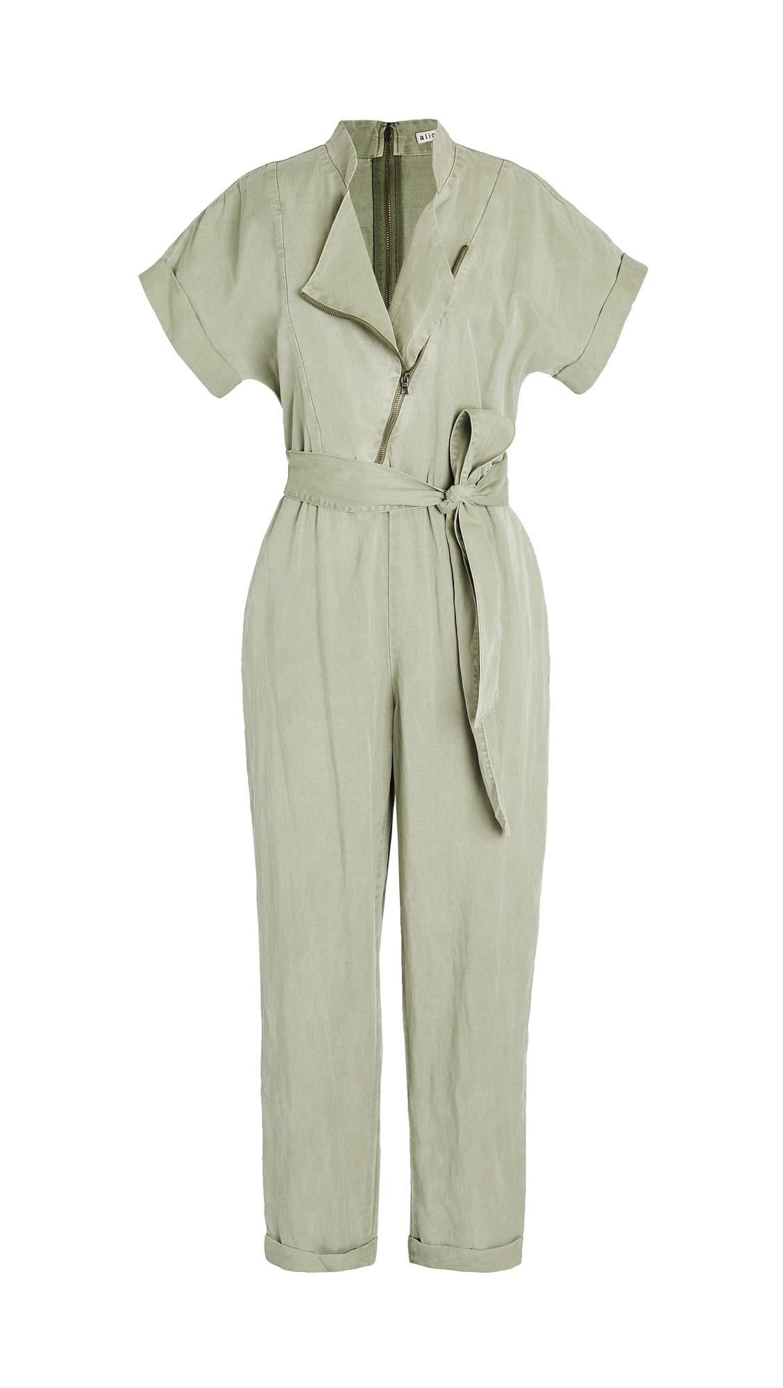 alice + olivia Leonarda Asymmetrical Jumpsuit with Tie Belt
