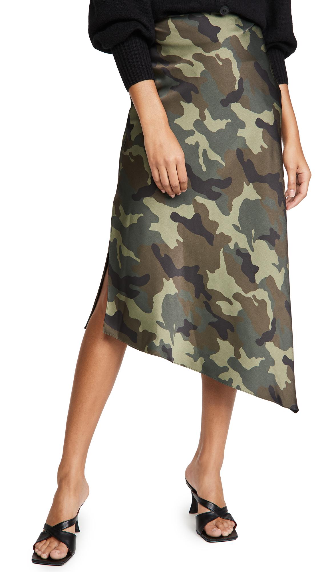 alice + olivia Maeve Asymmetric Slip Skirt