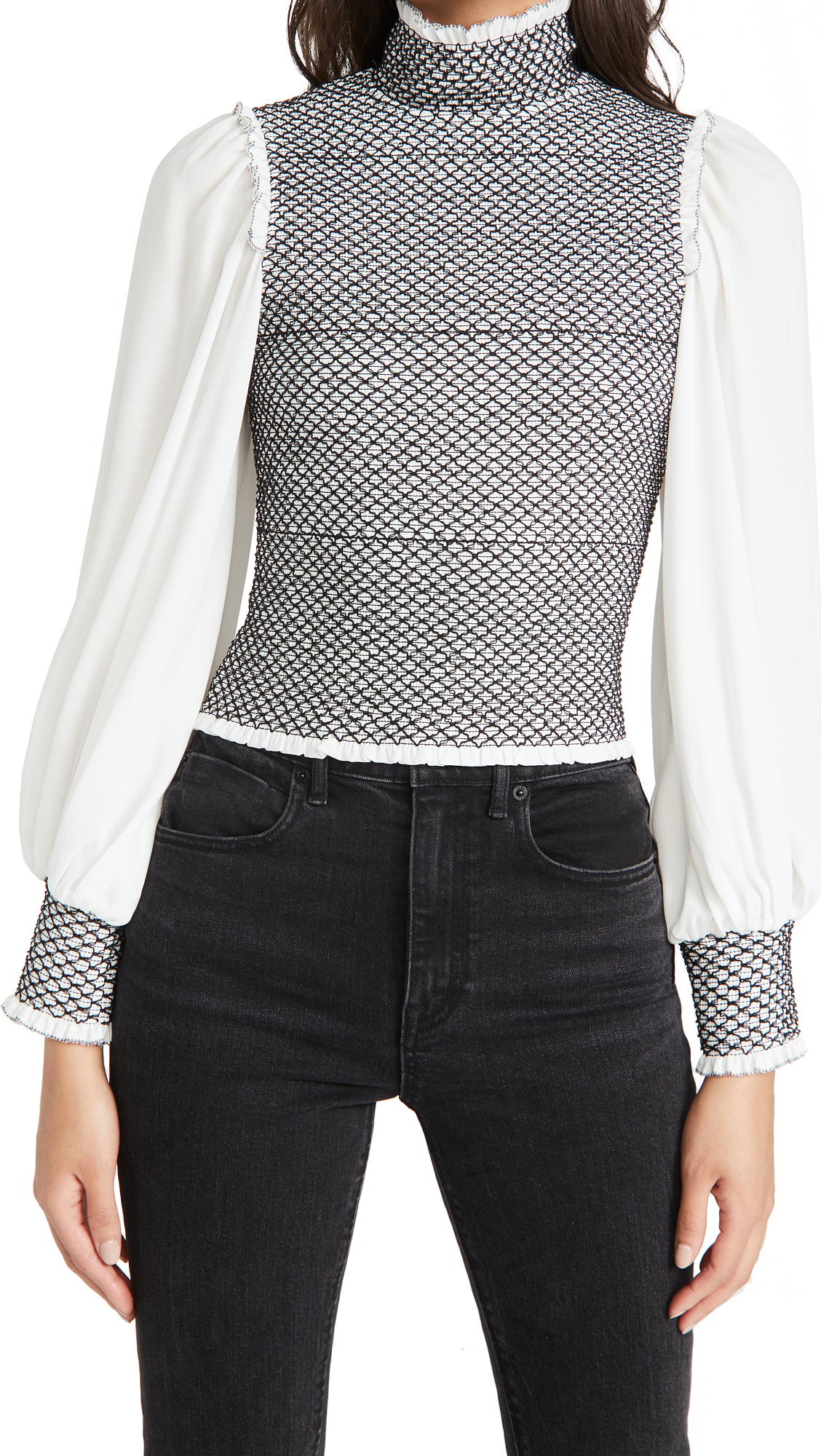 Alice And Olivia Blouses AVIVA BISHOP SLEEVE SMOCKED BLOUSE