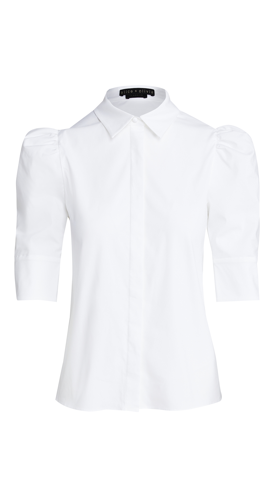 alice + olivia Willa Scrunched Puff Sleeve Top