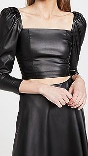alice + olivia Francesca 仿皮泡泡袖上衣