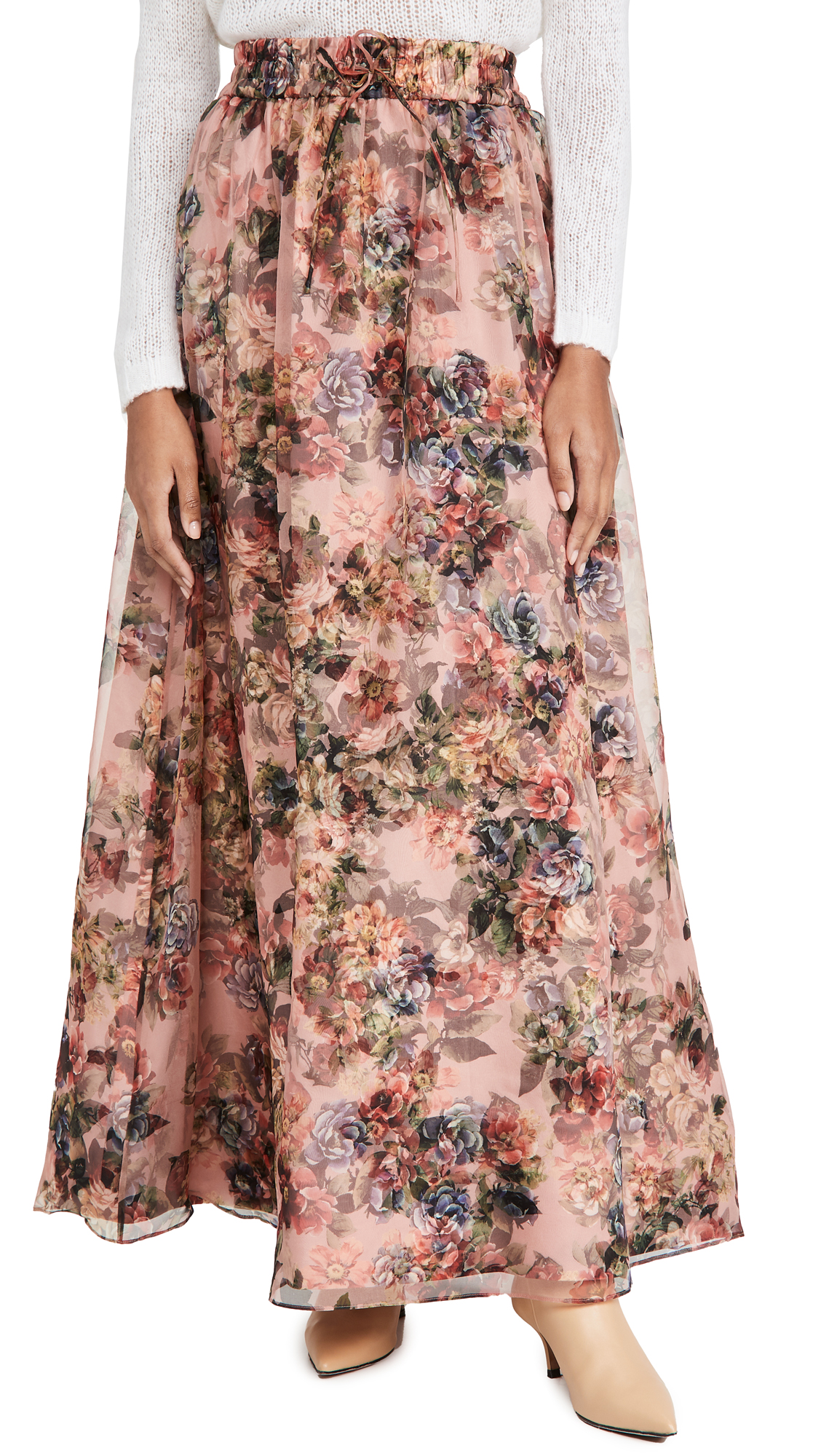 alice + olivia Dixie Drawstring Gown Skirt with Train