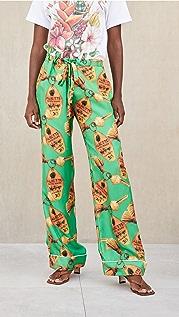 Aliette Green Key Silk Pants
