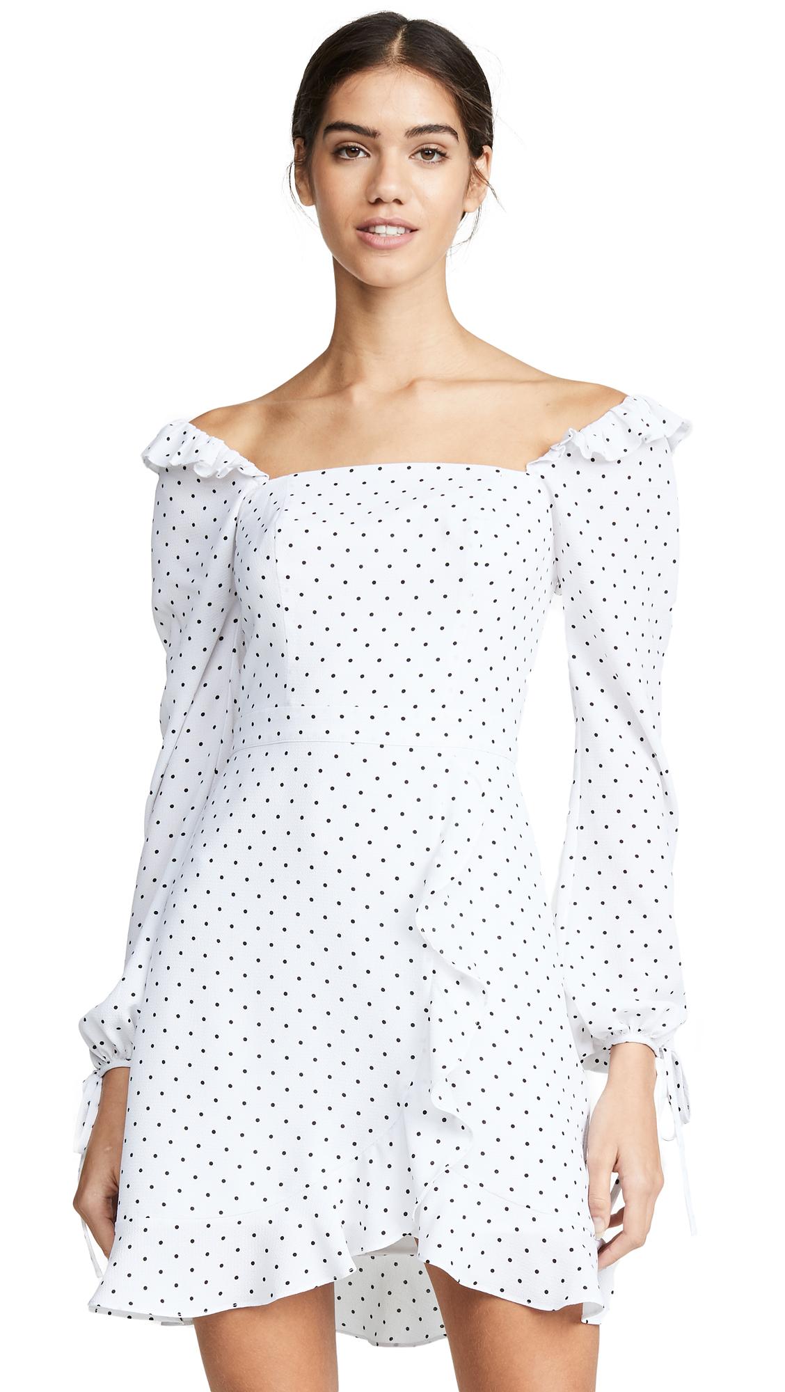 Ali & Jay In Bloom Polka Dot Mini Dress - White/Black Dot