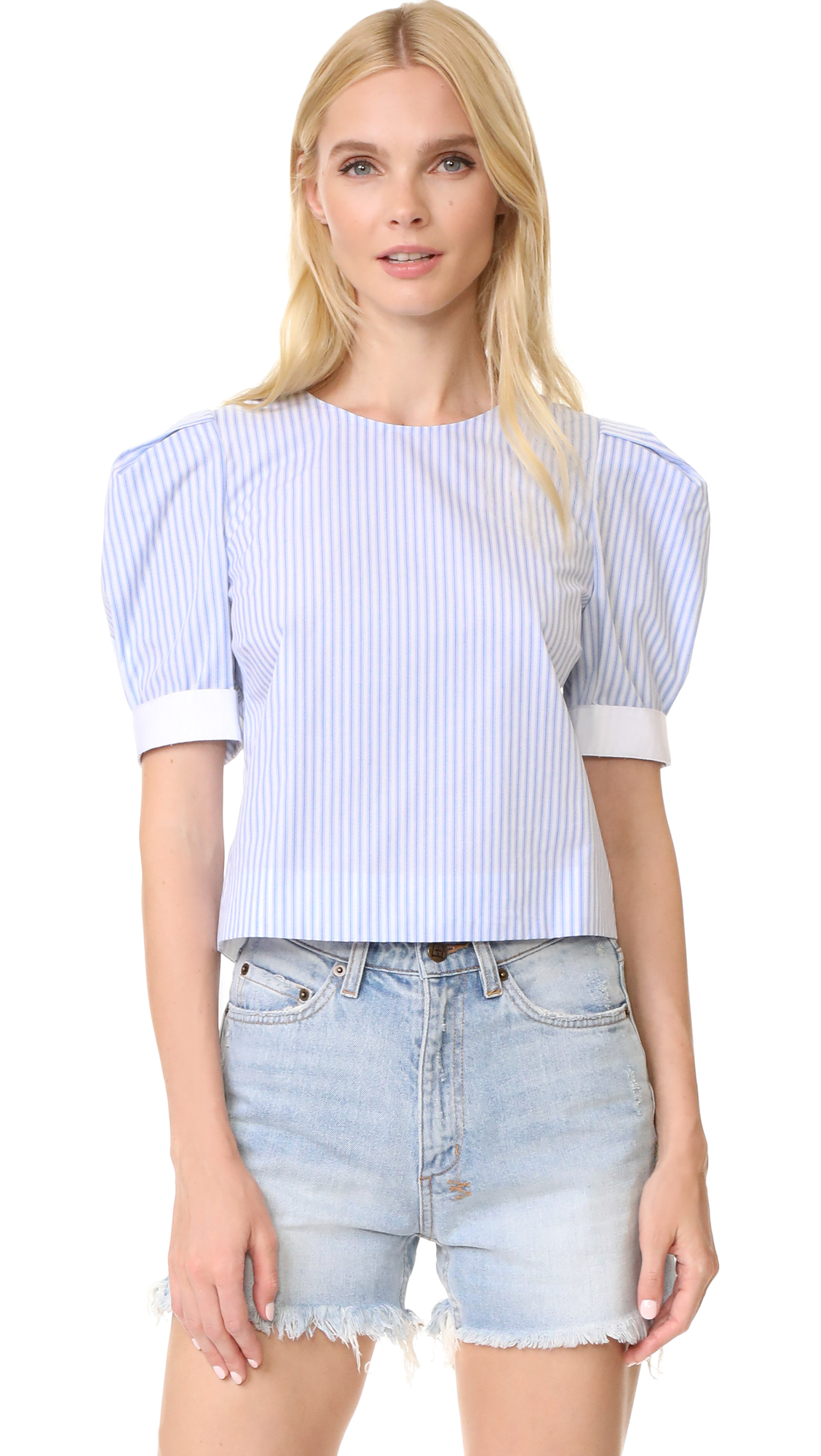Adam Lippes Puff Sleeve Top - Blue Stripe