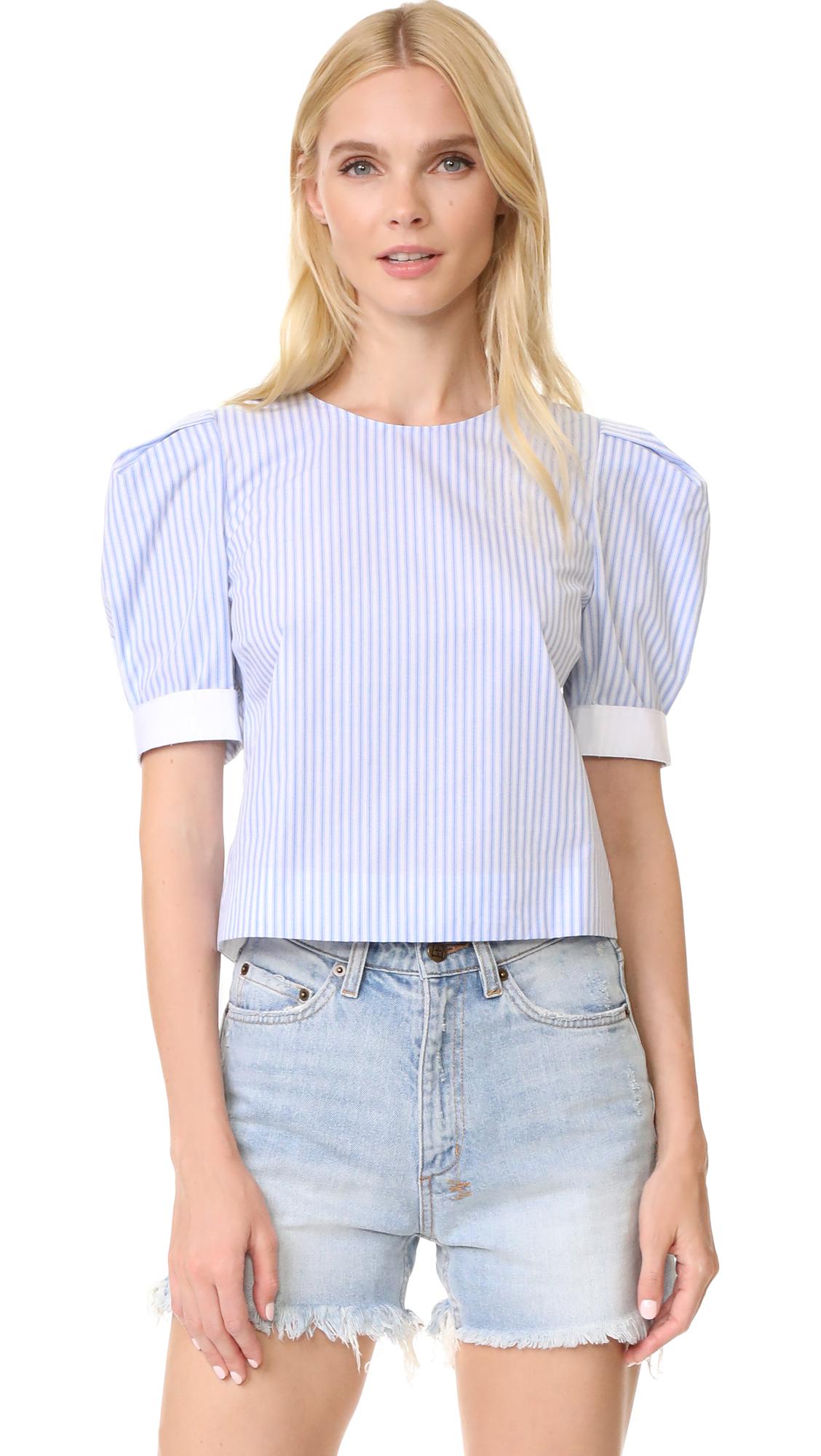 Adam Lippes Puff Sleeve Top - Blue Stripe