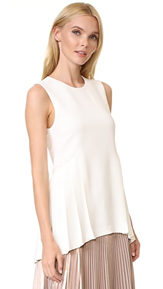 Adam Lippes Crew Neck Top with Pleats In Ivory