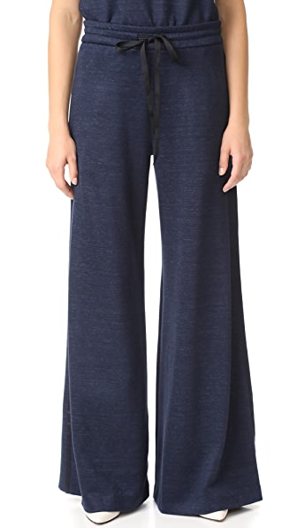 Adam Lippes Wide Leg Drawstring Pants In Navy