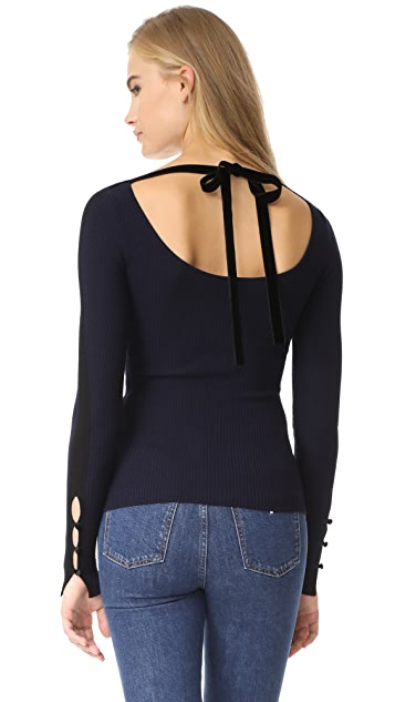 Adam Lippes Long Sleeve Ribbed Open Neck Top