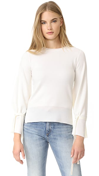 Adam Lippes Bell Sleeve Crew Neck Sweater In Ivory