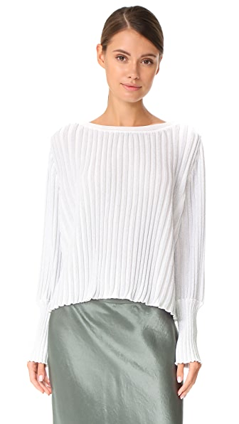 Adam Lippes Ribbed Knit Sweater - Ivory/Silver