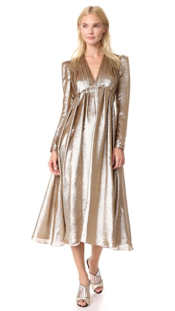 Adam Lippes Pleated V Neck Dress