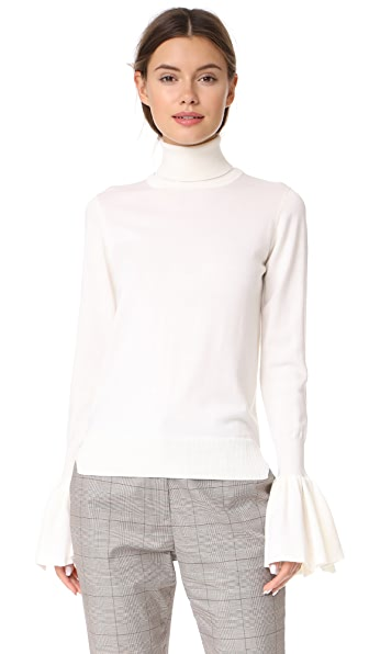 Adam Lippes Bell Sleeve Turtleneck In Ivory