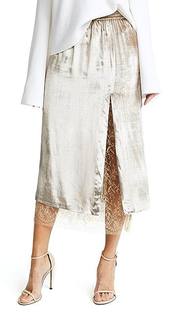 Adam Lippes Velvet Skirt with Slit