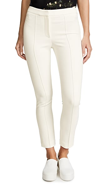 Adam Lippes Stretch Cady Cigarette Pants with Pintucks In Ivory