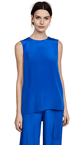 Adam Lippes Silk Crepe Tunic with Pleat Back In Cobalt