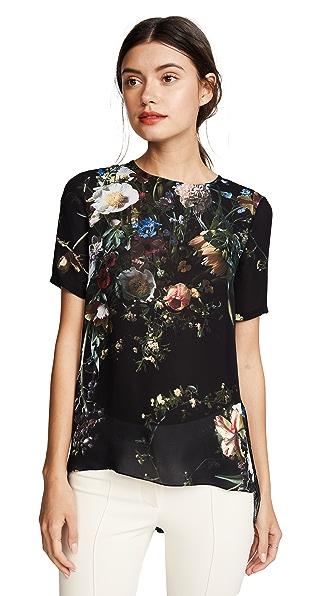 Adam Lippes Floral Silk Tee In Black Multi