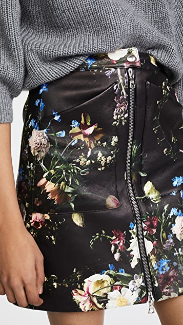 Adam Lippes Floral Print Leather Skirt