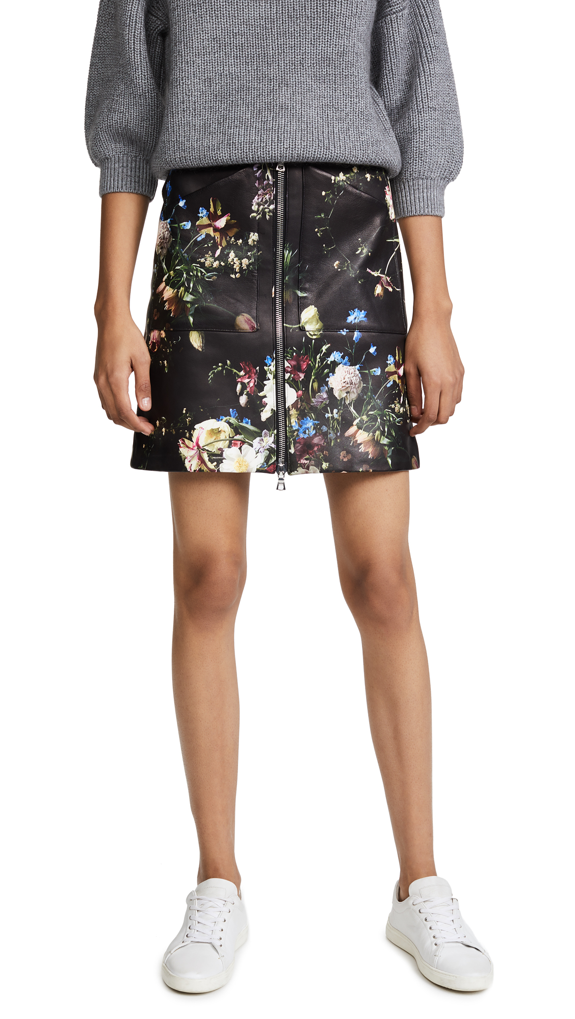 Adam Lippes Floral Print Leather Skirt In Black Multi